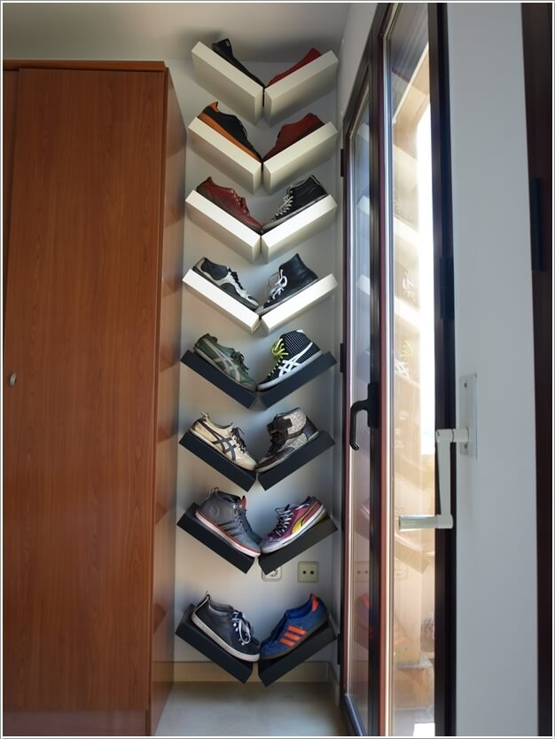 A Shoe Storage Created From Ikea Lack Shelves Installed At Angled Positions Forming V Shapes