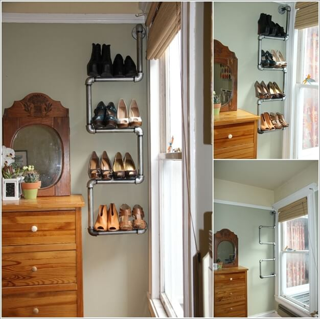 Make An Shoe Rack With Plumbing Pipes
