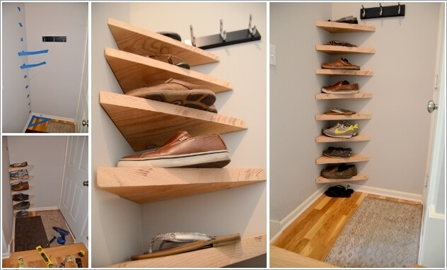 Beau A Shoe Storage Created In A Corner Using Triangular Shelves