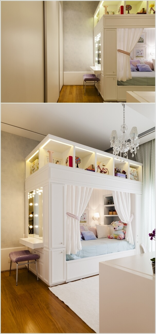 Integrate The Vanity Table With The Storage Bed