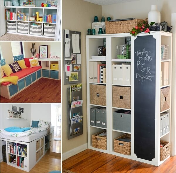 clever and cool ikea kallax shelf hacks. Black Bedroom Furniture Sets. Home Design Ideas