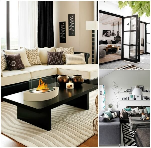 Gorgeous black and white living room designs for Pictures of black and white living room designs