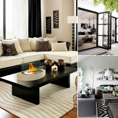 Gorgeous Black and White Living Room Designs fi