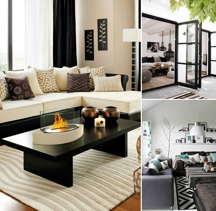 gorgeous black and white living room designs