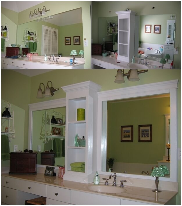 Split A Large Mirror Into Two By Building A Shelf In The Middle Along With  The Frame