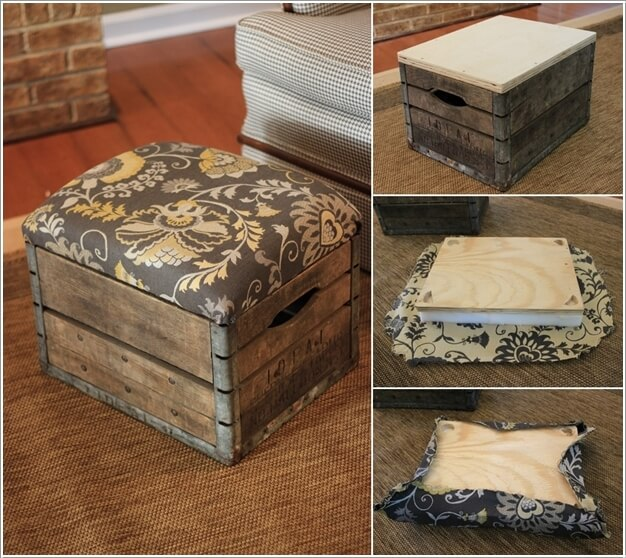 Make An Ottoman By Adding A Cushioned Seat To The Crate