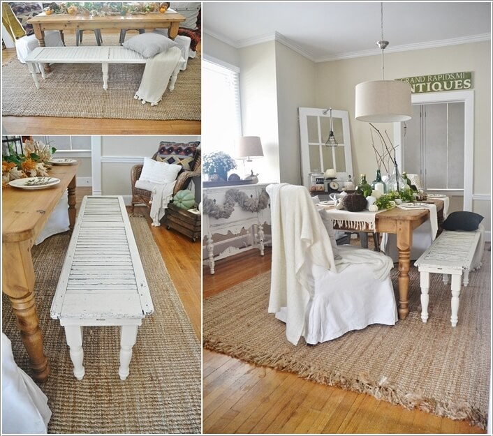 Add Table Legs To A Shutter And Transform It Into A Rustic Bench