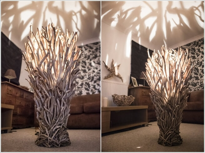 10 floor lamp designs you will admire a lamp with a mesmerizing design created from driftwood creating a shadow that gives a forest feel mozeypictures Images