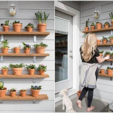 10 Wonderful DIY Outdoor Planter Shelves 2