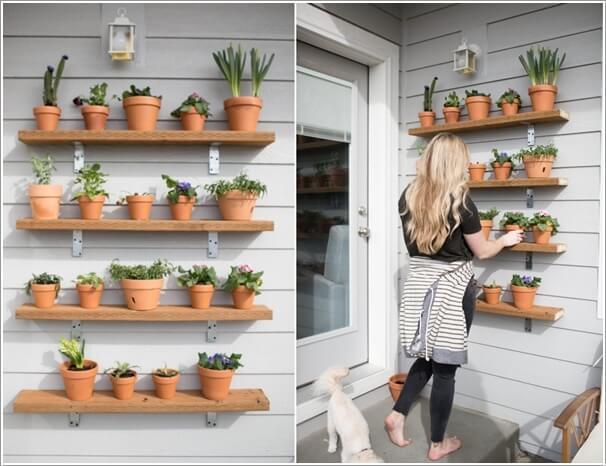 10 Wonderful DIY Outdoor Planter Shelves 2