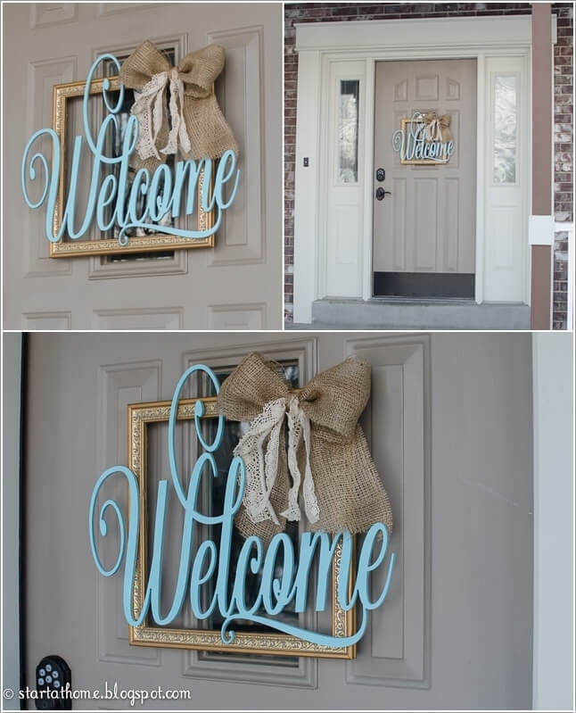Rethink An Empty Picture Frame With A Burlap And Lace Bow And A Wood Welcome  Sign
