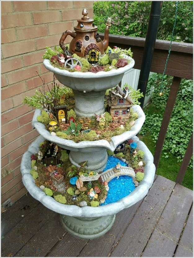 Upcycle An Old Garden Fountain Into A Tiered Fairy Garden