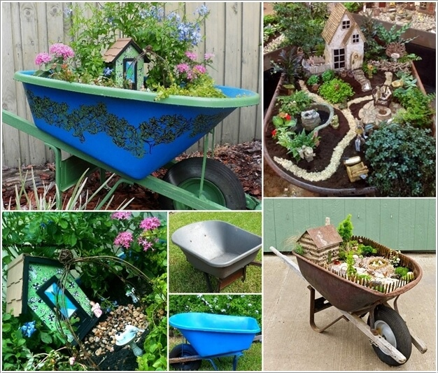 15 Amazing Spilling Flower Landscape Design Ideas: 15 Magical Recycled Fairy Garden Ideas