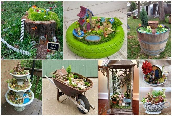 upcycle an old garden fountain into a tiered fairy garden