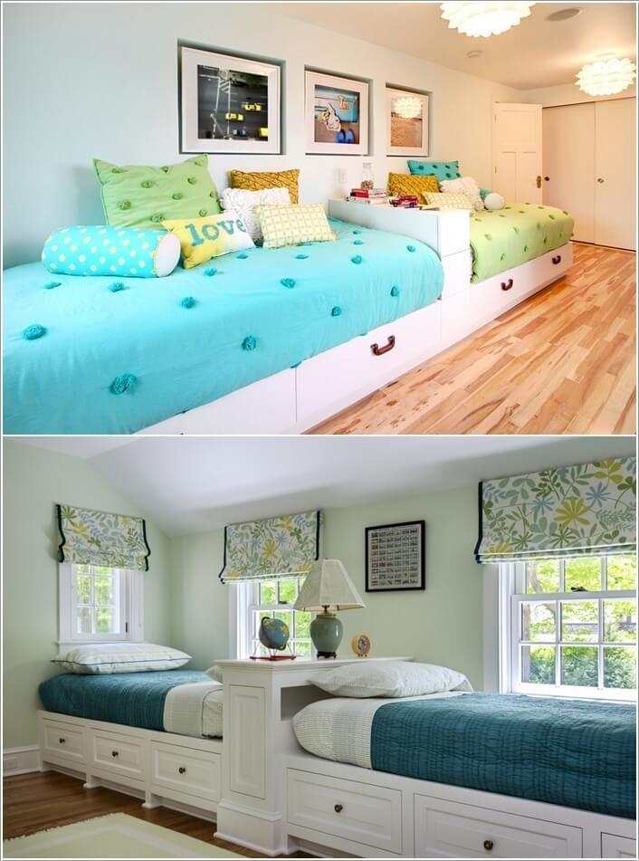 Take Inspiration From Dorm Style And Put The Kids Beds Lengthwise