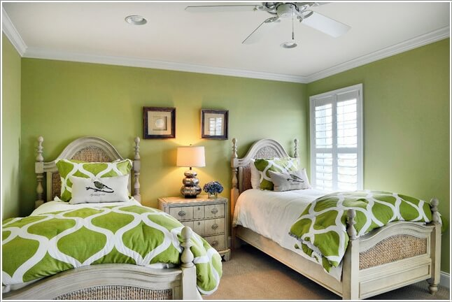 go for a monochromatic decor such as this serene green twin bedroom - Single Bed Bedroom Design