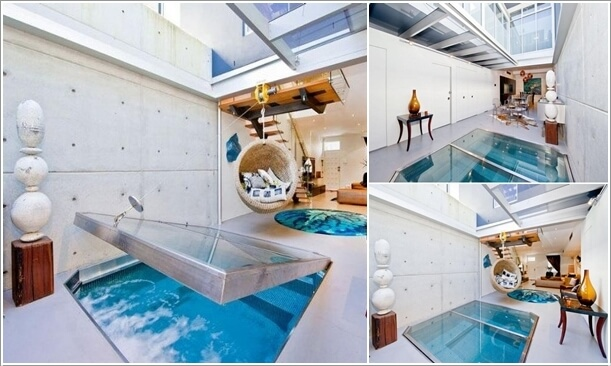 A Small Pool Inside a Living Room That Flips Open Inside The Floor Whenever  Needed and Thus Saves Floor Space