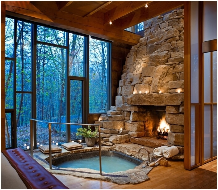 High Quality A Japanese Style Soaking Pool With A Fire Place That Cozies It Up Further