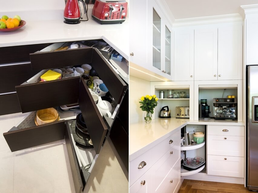 Clever storage ideas for corner kitchen cabinets for Cabinet storage ideas kitchen