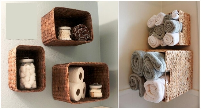Create Open Shelves By Fixing Square Wicker Baskets On The Bathroom Wall