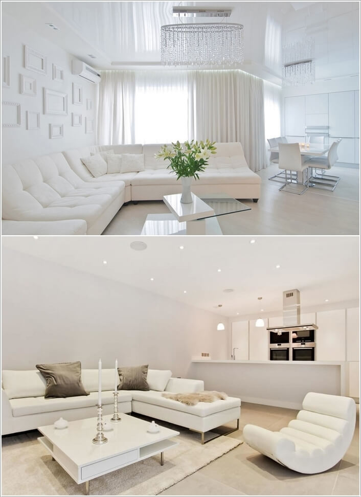 Team Up The White Sectional With Furniture For A Heavenly Feel