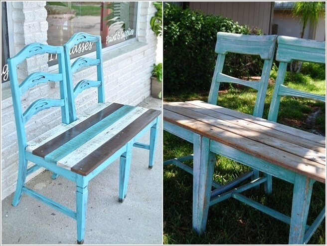 Create A Bench In The Color Of Your Choice With Old Chairs