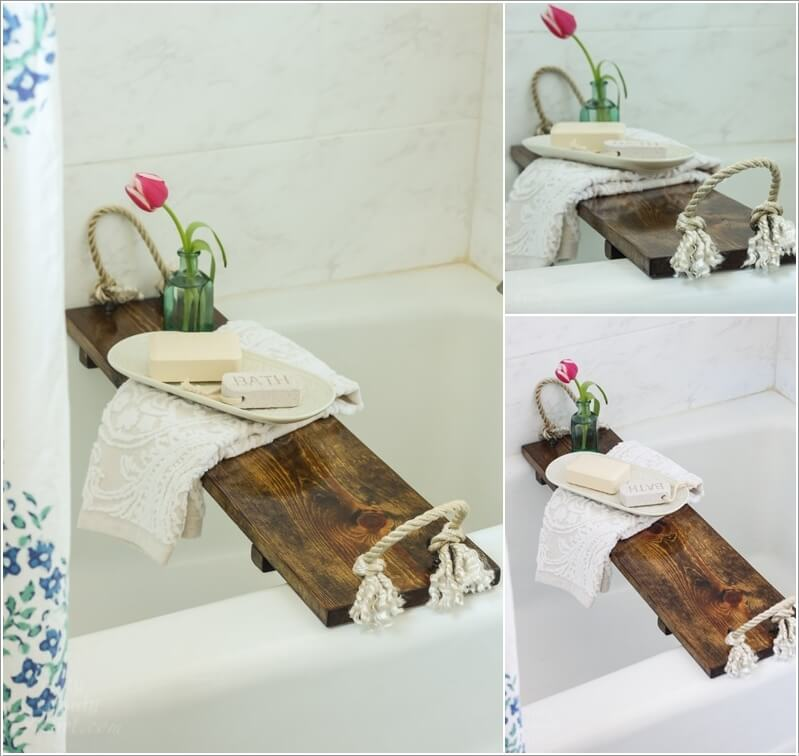 make a tray for your bathtub to cozy up your bathroom