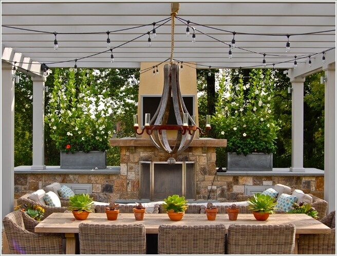 pergola lighting ideas. 10. Create A One Of Kind Custom Chandelier With Wine Barrel Pergola Lighting Ideas G