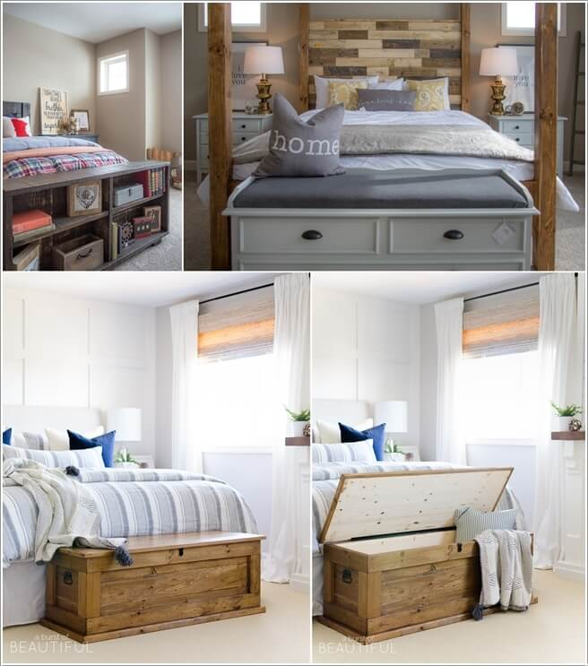put a storage bench or a shelf at the foot of the bed