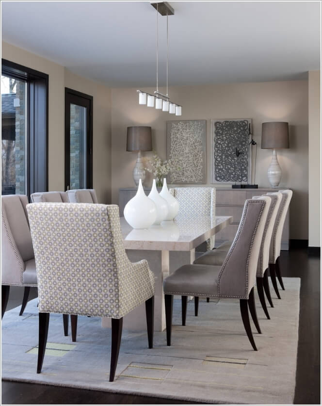 7. Upholstered Dining Chairs with Wooden Legs