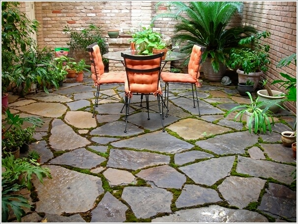 Blend The Floor With Outdoor By Using Flagstone