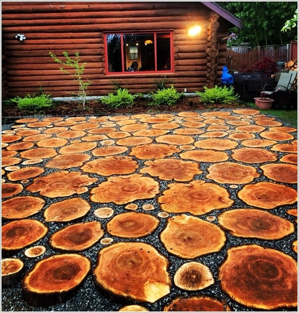 For A Rustic Look Make A Floor Of Log Slices