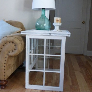 This Reclaimed Farmhouse Windows Side Table is Lovely fi