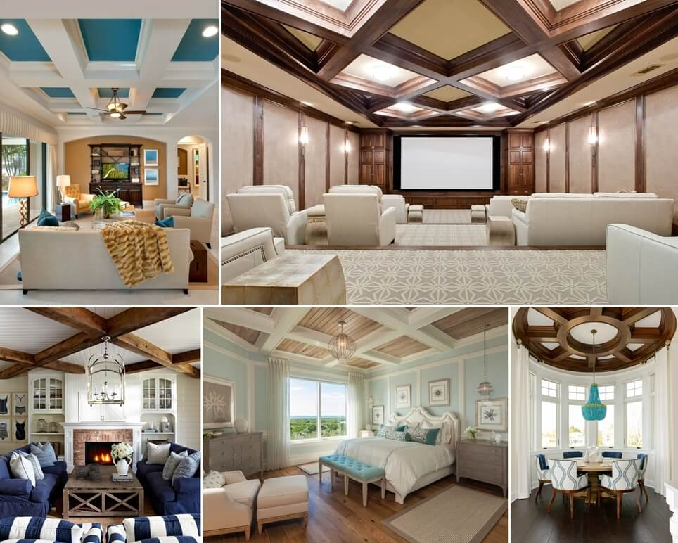 10 amazing coffered ceiling ideas for Coffered ceiling paint ideas