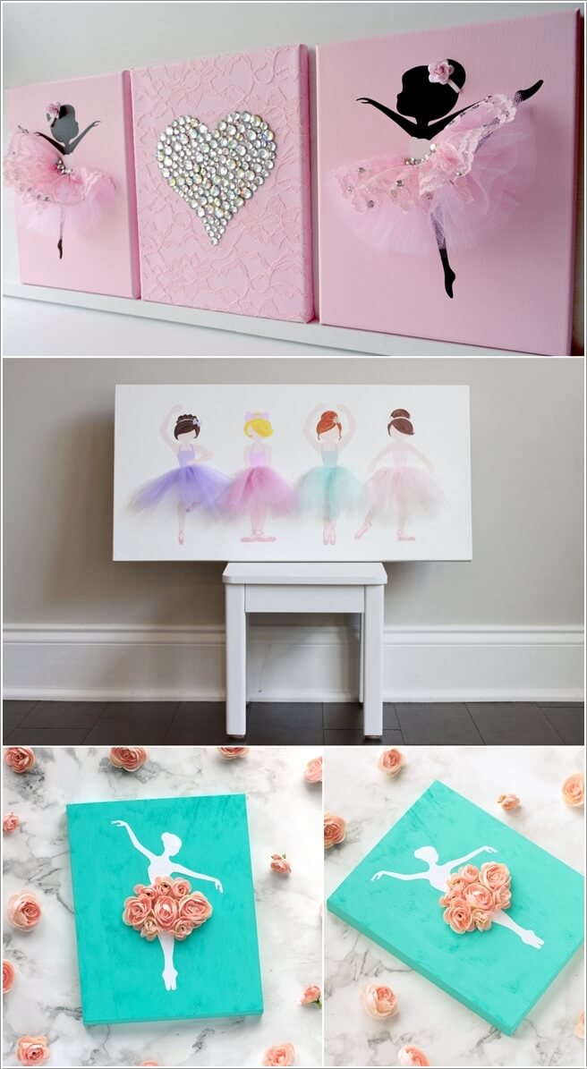 Craft A Cute Ballerina Wall Art By Making Skirt Of Silhouette With Tulle Ribbon Or Silk Flowers