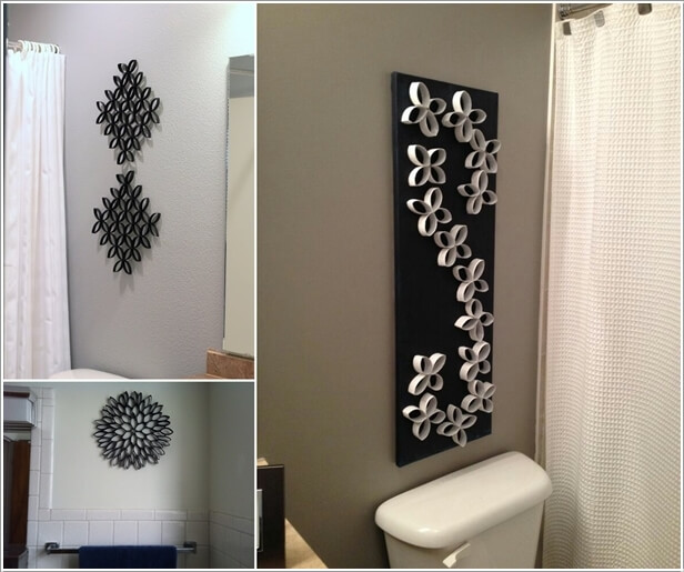 Create a Unique Wall Art with Paper Roll Tubes & 10 Creative DIY Bathroom Wall Decor Ideas
