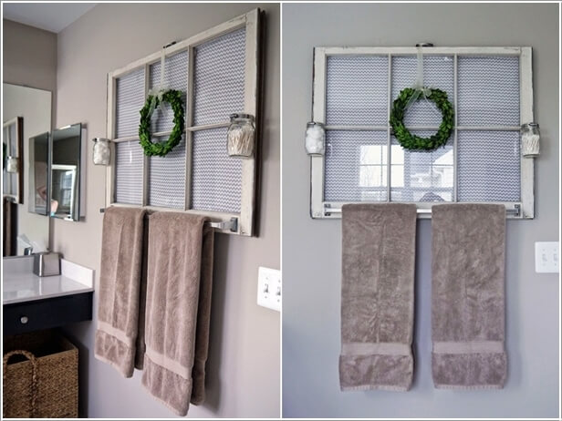 Decorate The Wall With An Old Window Frame; Create Storage As Well By  Adding A Towel Bar To It