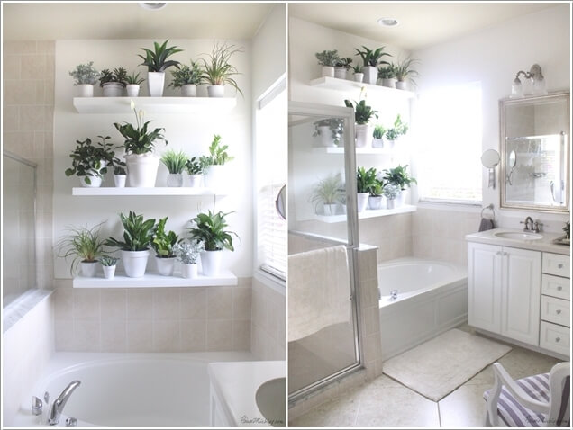 7. Install Floating Shelves And Put Lots Of Mini Planters For A Fresh Feel