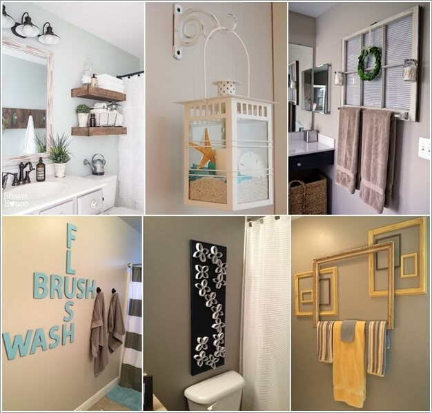 10 creative diy bathroom wall decor ideas for Diy bathroom decor ideas