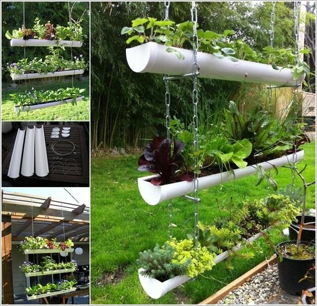 A Hanging PVC Gutter Garden