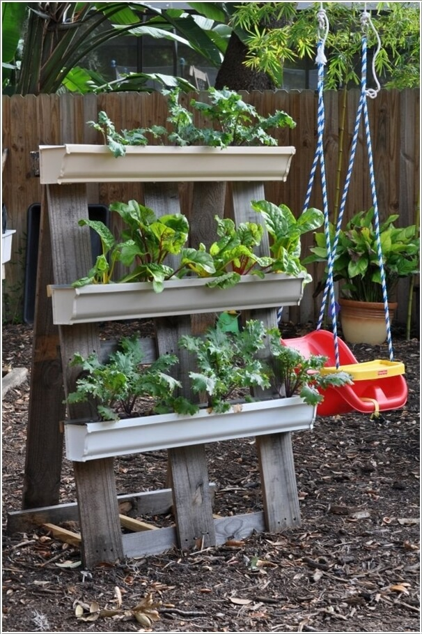 High Quality A Gutter Garden With A Pallet Stand