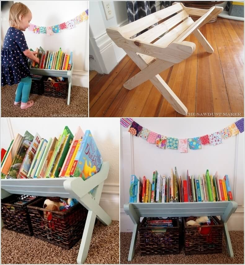 Build an X Base Book Caddy for a Toddleru0027s Room & 15 Wonderful Kids Books Storage Ideas