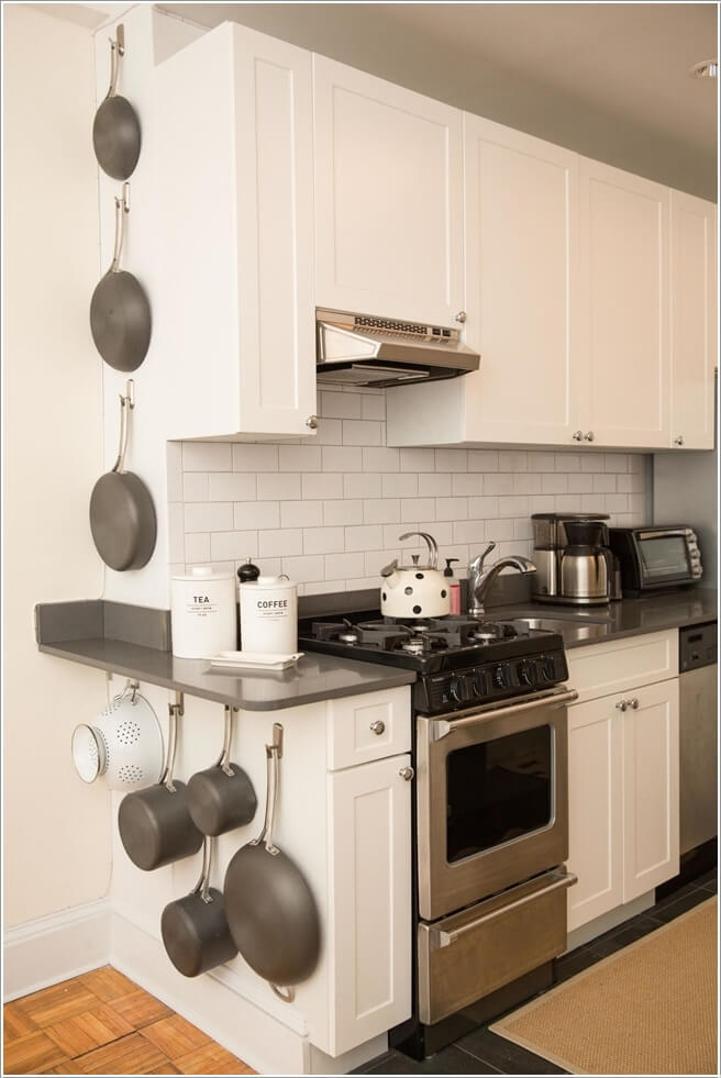 Wonderful 2. Install Hooks At The End Of Cabinets And Hang Pots And Pans
