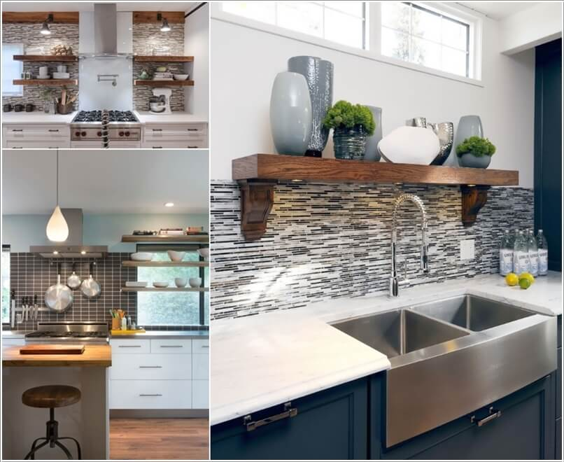 Elegant 3. Hack The Unused Space Along The Backsplash With Shelves