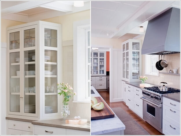 Install A Storage Tower With Glass Sides Above The Counter And Store The  Crockery