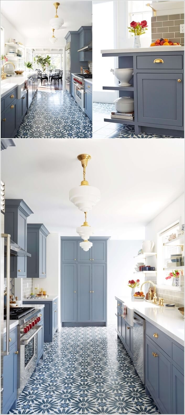2. Keep The Cabinetry in One Simple Color and Focus on The Floor with  Patterned Tiles