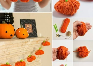 Yarn Pumpkin Garland fi