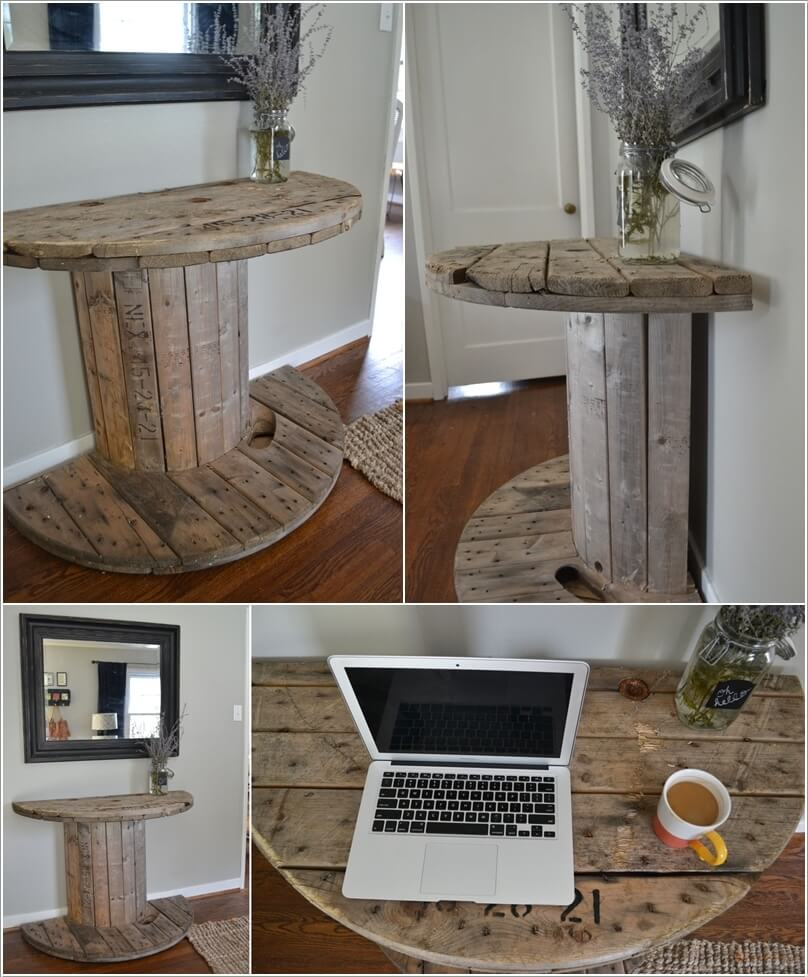 A Unique Table Created With A Half Cable Spool