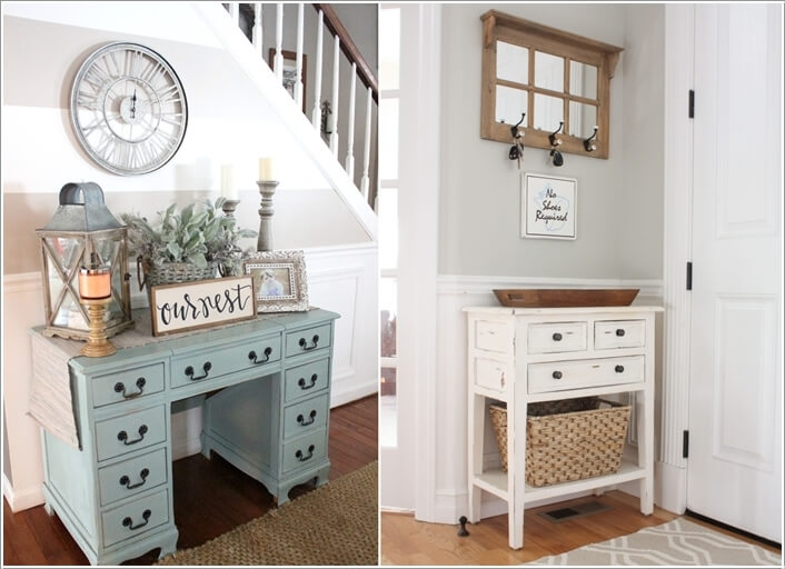 Old Dressers Restored As Entryway Tables