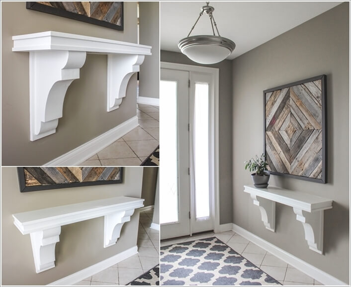 A Clever Space Saving Entryway Table Created With Corbels